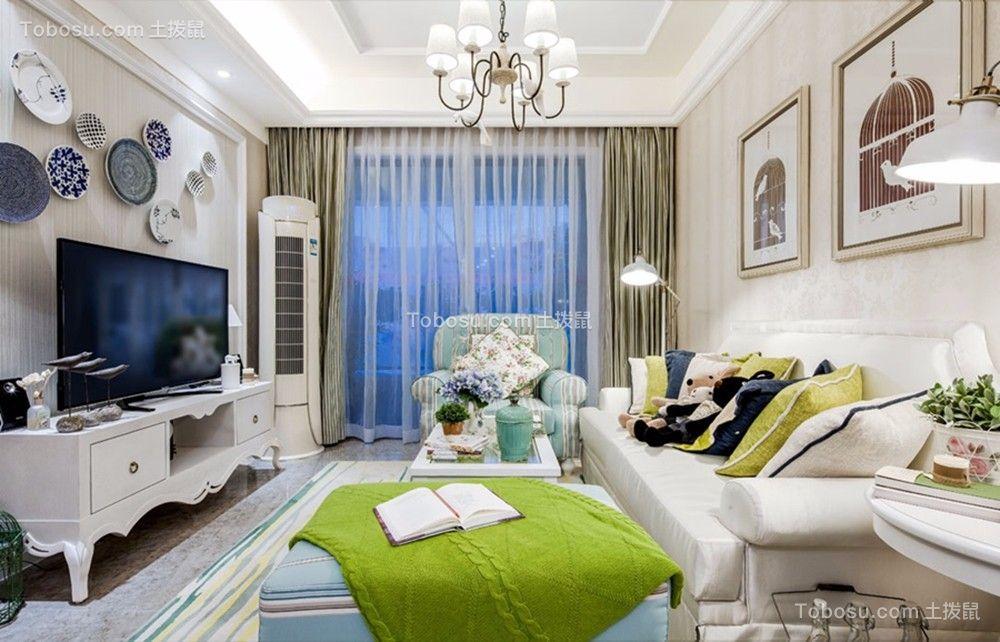 南京80平米地中海田园风格二居室装修效果图