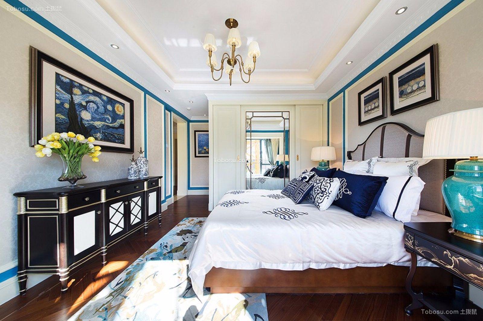 卧室白色书桌欧式田园风格装修图片