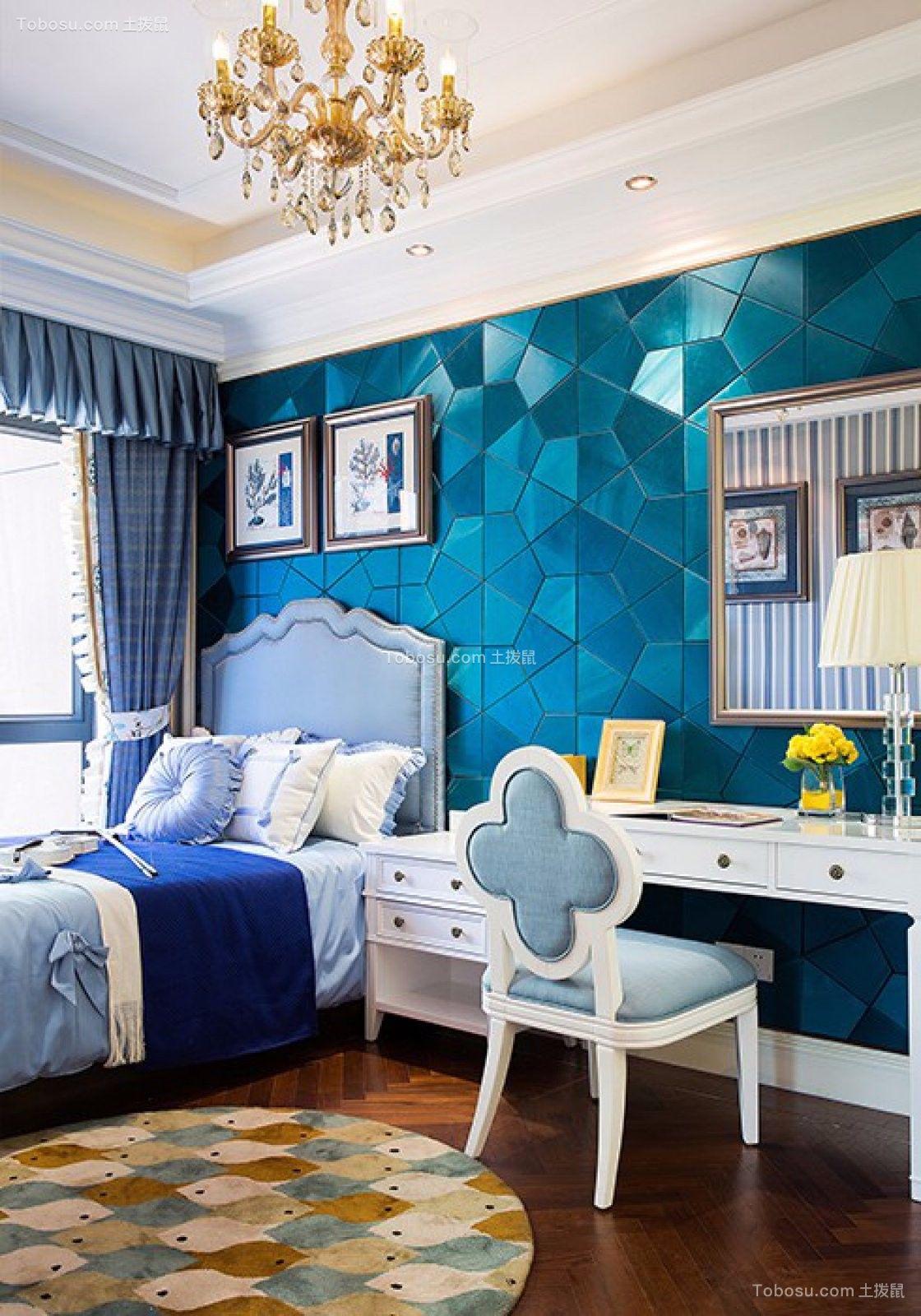 卧室蓝色背景墙欧式田园风格装饰图片