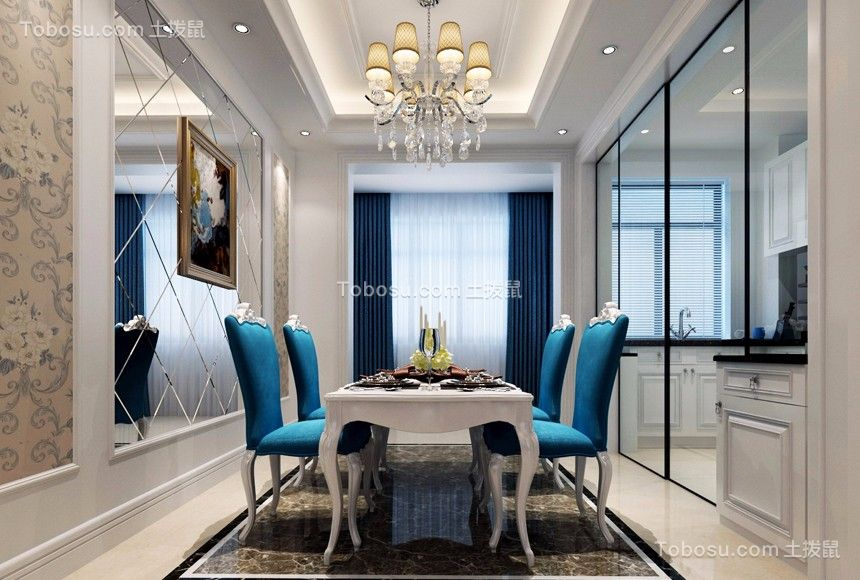 客厅白色地砖简欧风格装潢设计图片