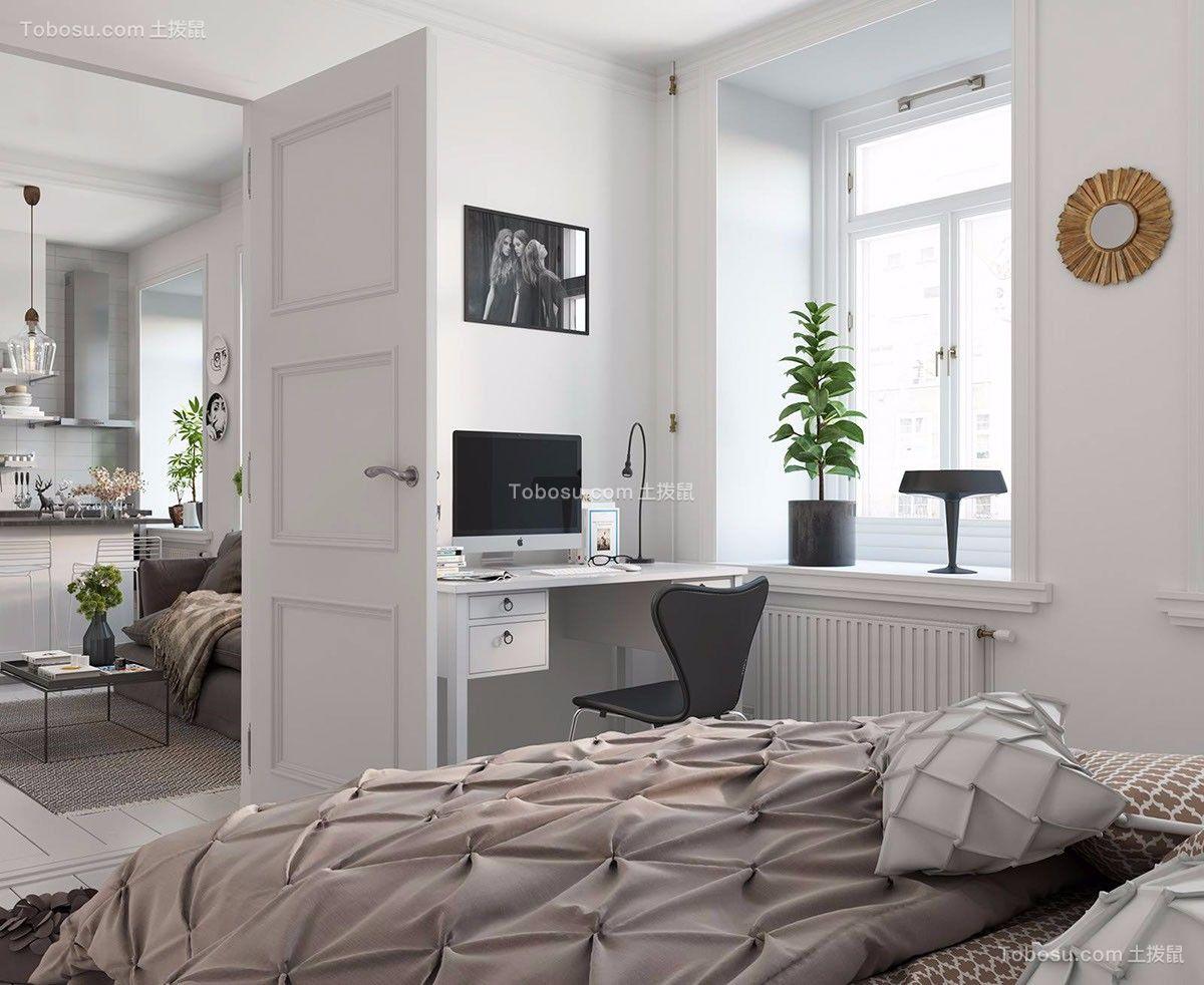 卧室白色书桌北欧风格装饰设计图片
