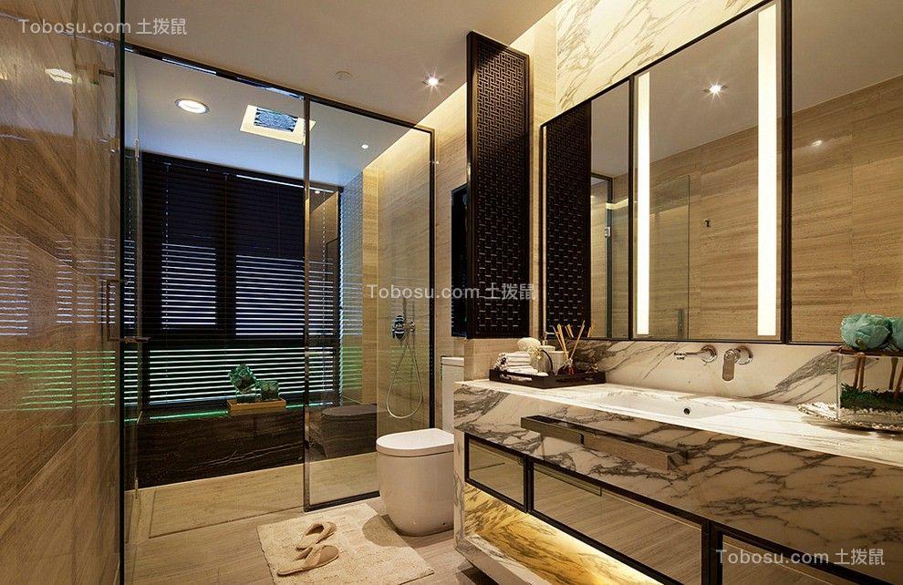 卫生间白色梳妆台中式风格装饰效果图