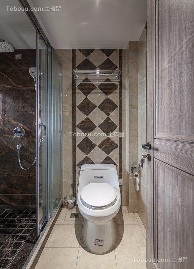 卫生间米色地砖北欧风格装潢效果图