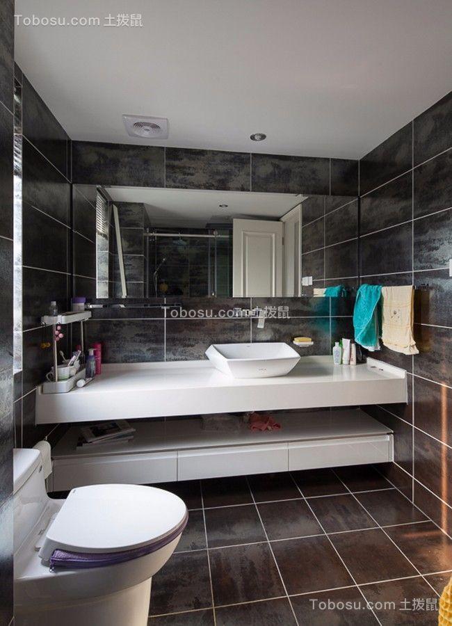 卫生间黑色地砖北欧风格装饰效果图
