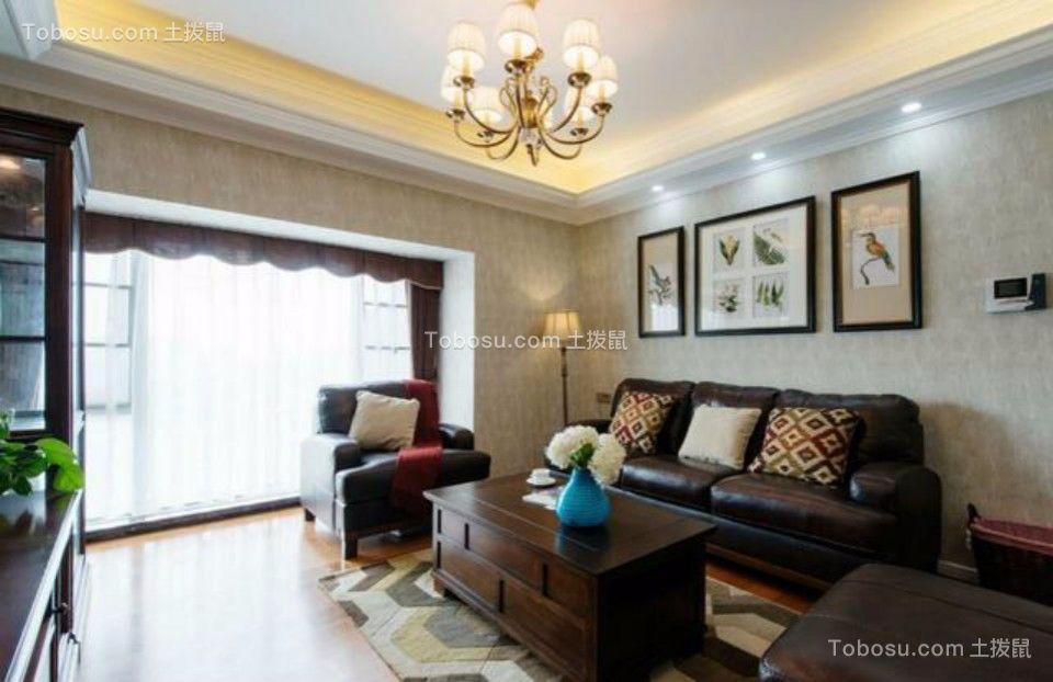 客厅黑色沙发美式风格装饰图片