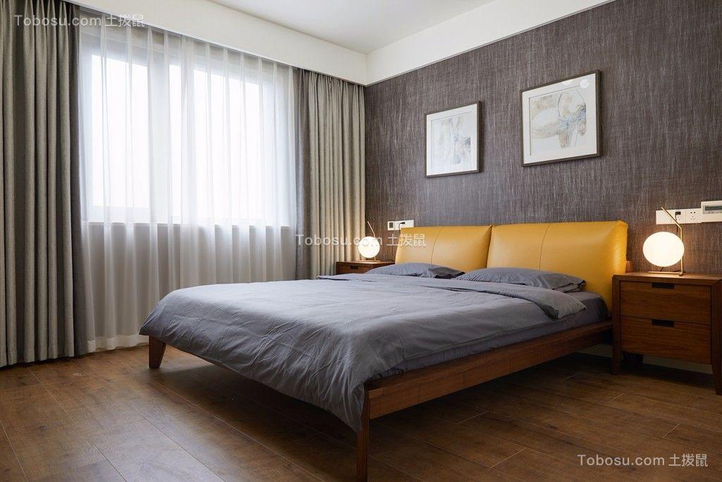卧室灰色背景墙现代简约风格效果图