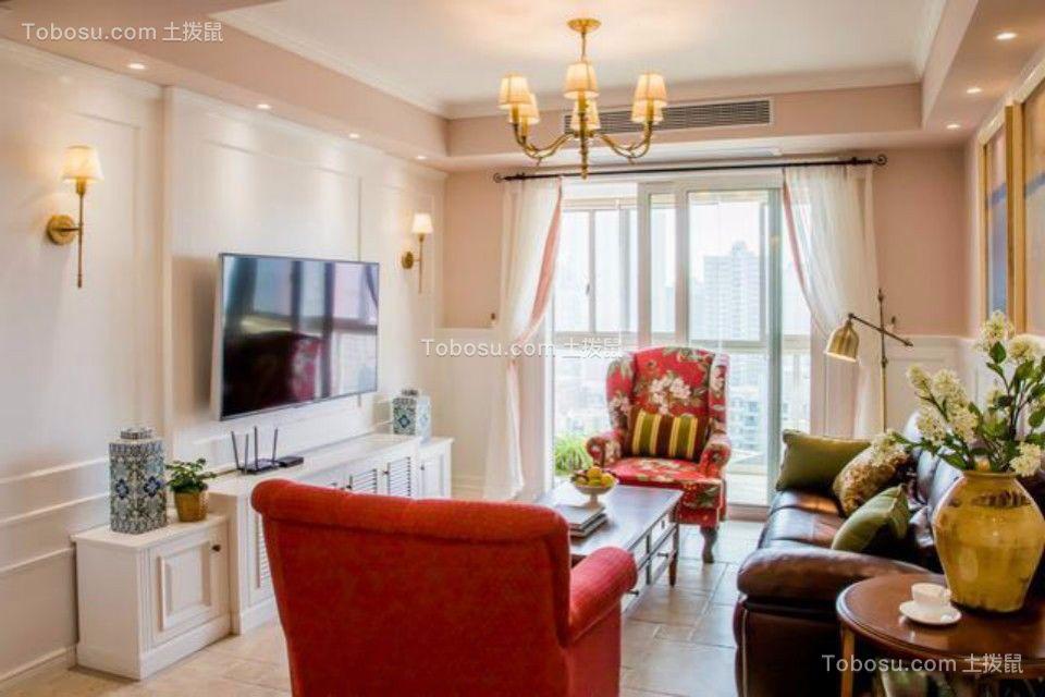 华信花园两室两厅120平美式装修效果图