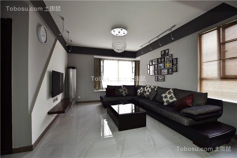 通用晶城现代风格89平两居室装修效果图