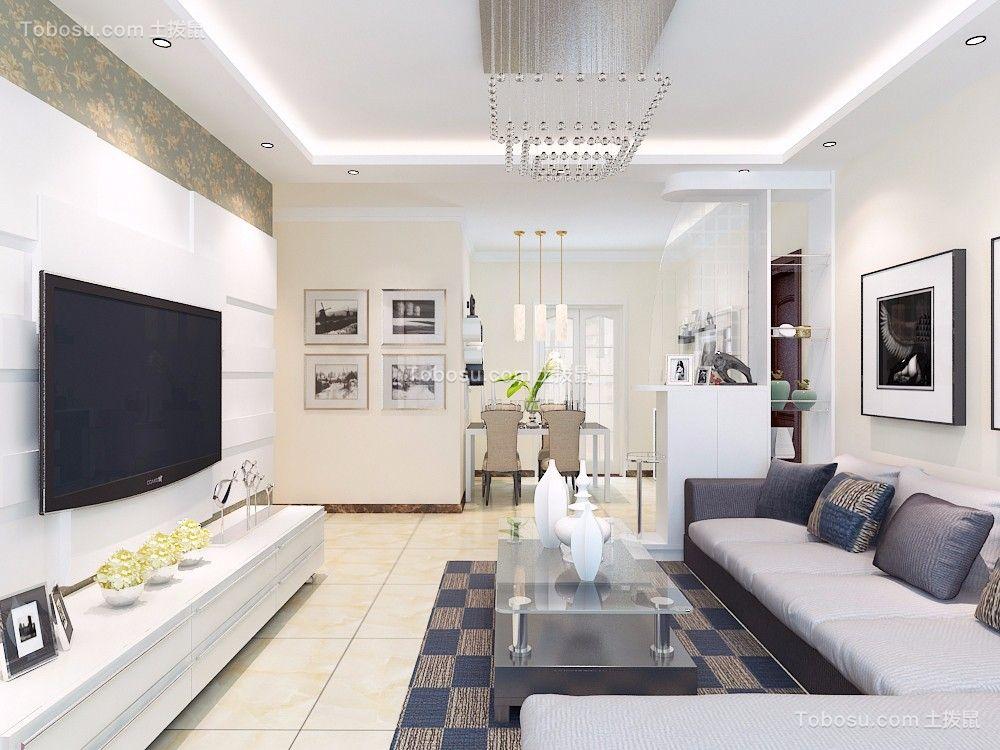 鑫苑世家公馆120平三居室现代简约装修效果图