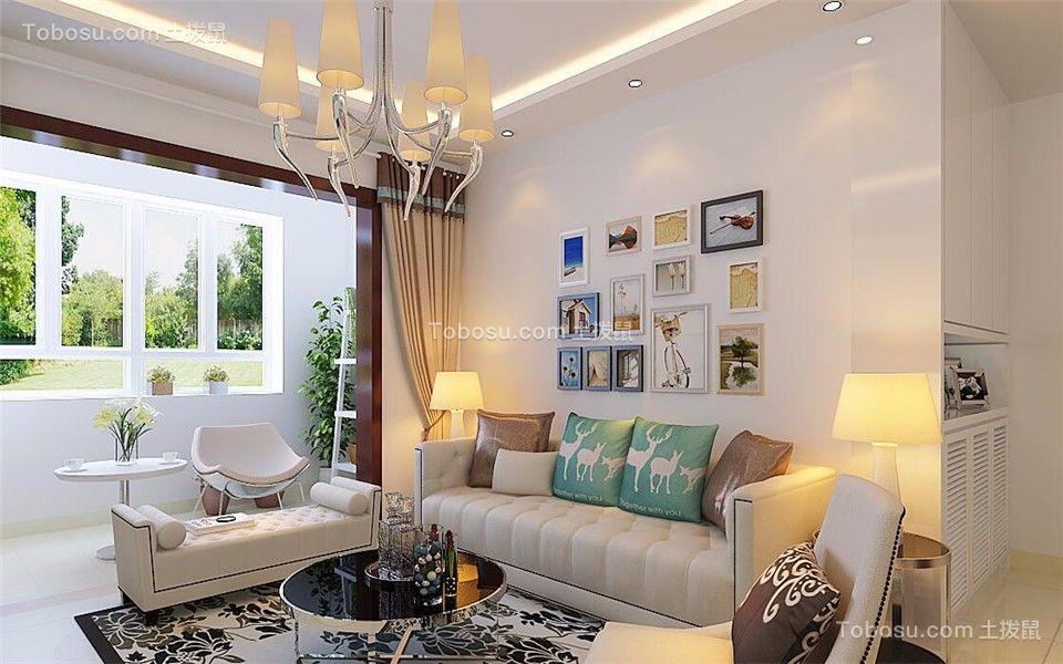 客厅绿色背景墙现代简约风格装潢设计图片