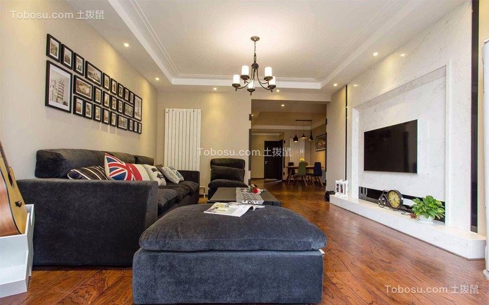 客厅黑色沙发美式风格效果图