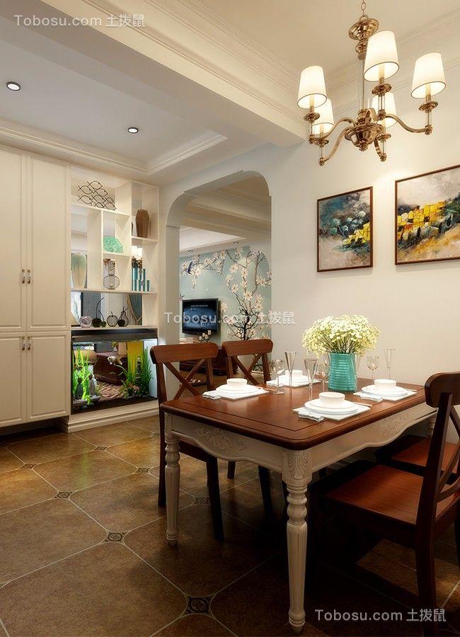 餐厅咖啡色地砖美式风格装饰效果图