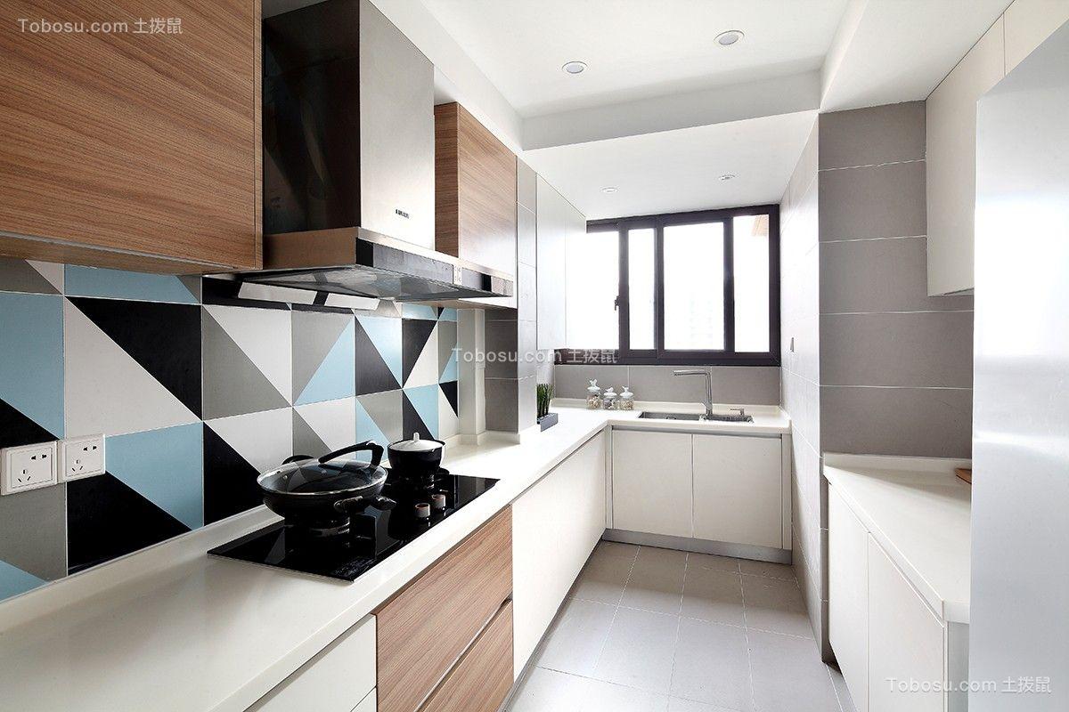 厨房彩色厨房岛台北欧风格效果图