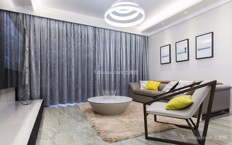 客厅蓝色窗帘现代简约风格装修图片