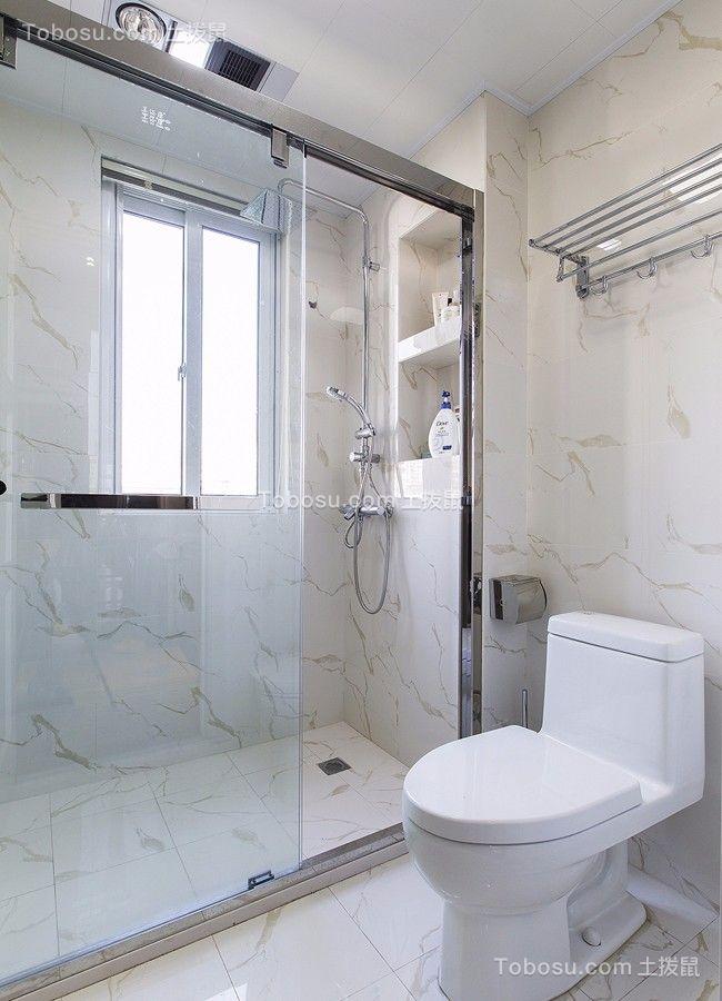 卫生间白色推拉门现代简约风格装潢设计图片