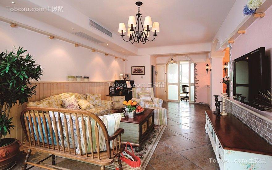 客厅咖啡色电视柜田园风格装饰效果图
