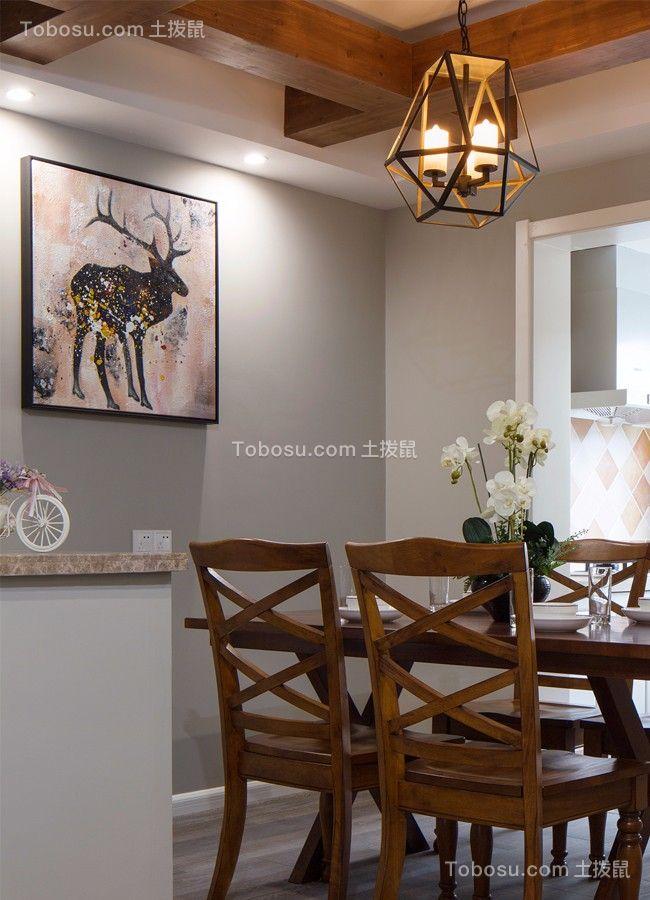 餐厅咖啡色餐桌现代简约风格装修设计图片