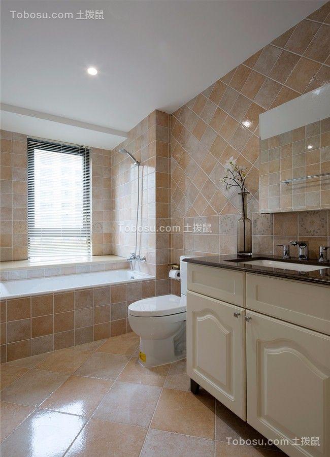 卫生间黄色洗漱台现代简约风格装饰设计图片