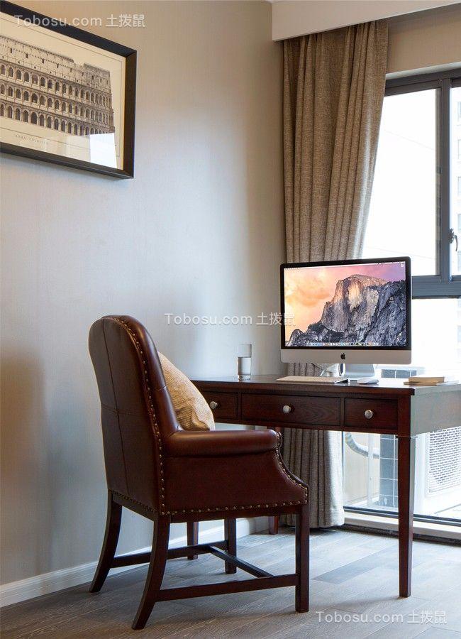 书房咖啡色书桌现代简约风格装潢设计图片