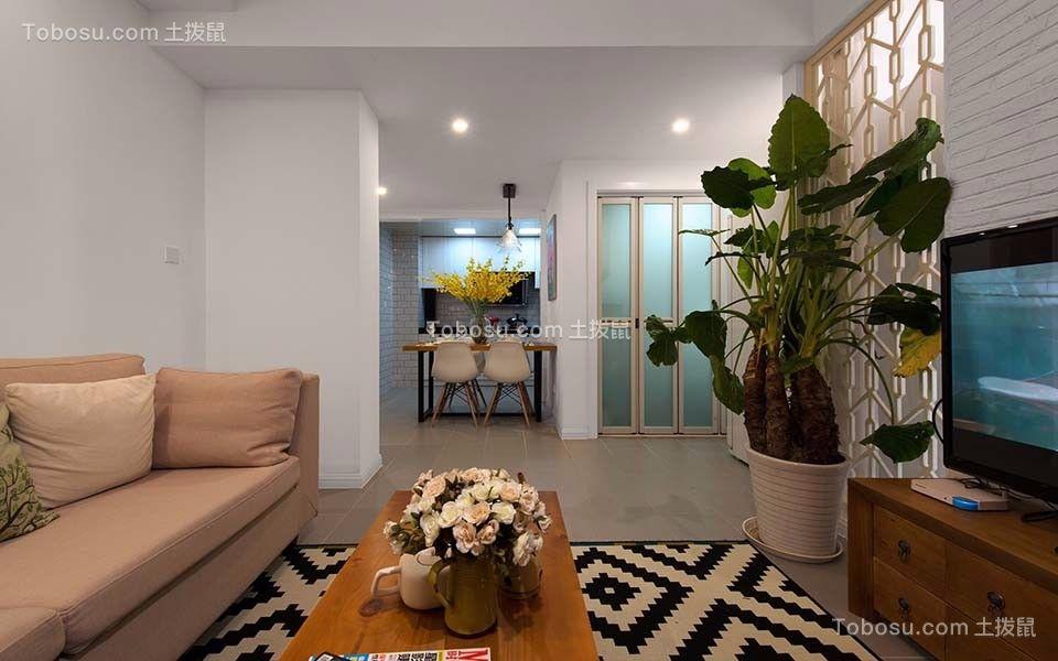 简欧风格49平米两室两厅新房装修效果图