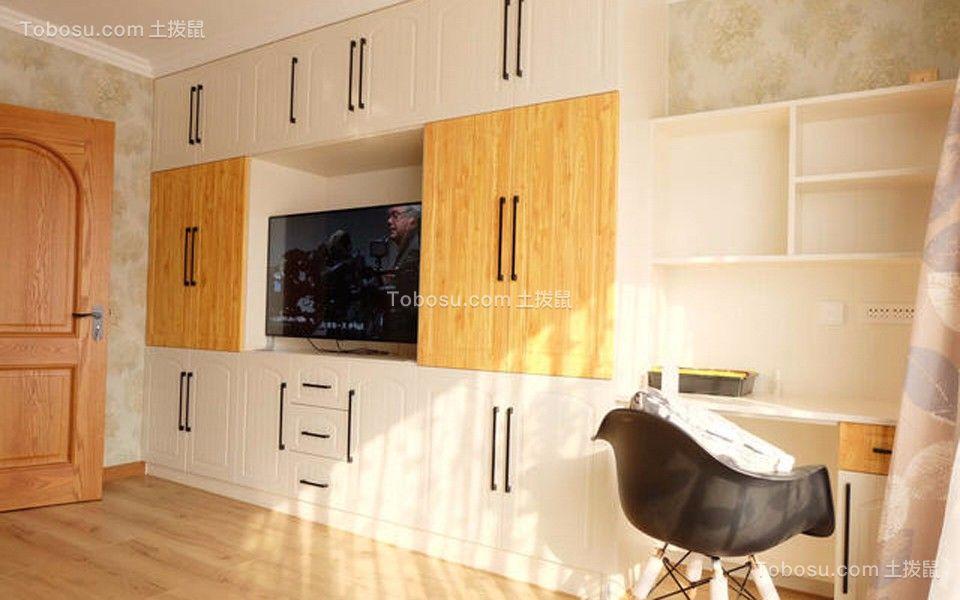 书房白色电视柜美式风格装修设计图片