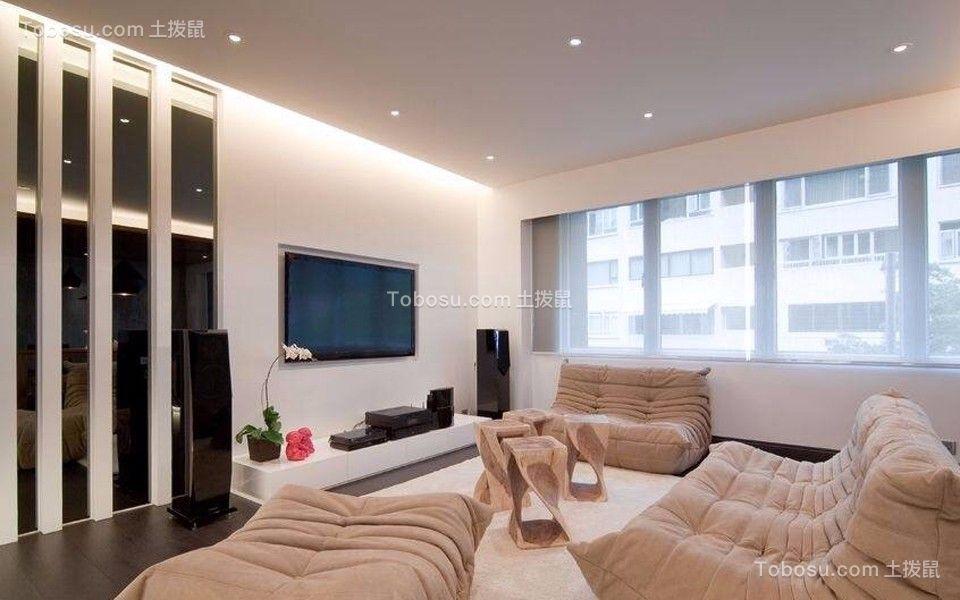 客厅米色电视柜简约风格装饰图片
