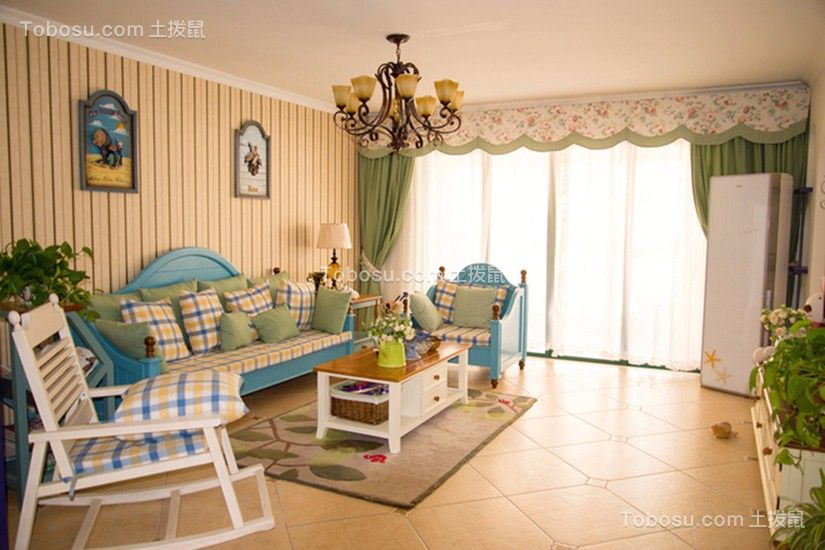 保利爱尚里地中海风格79平二居室装修效果图