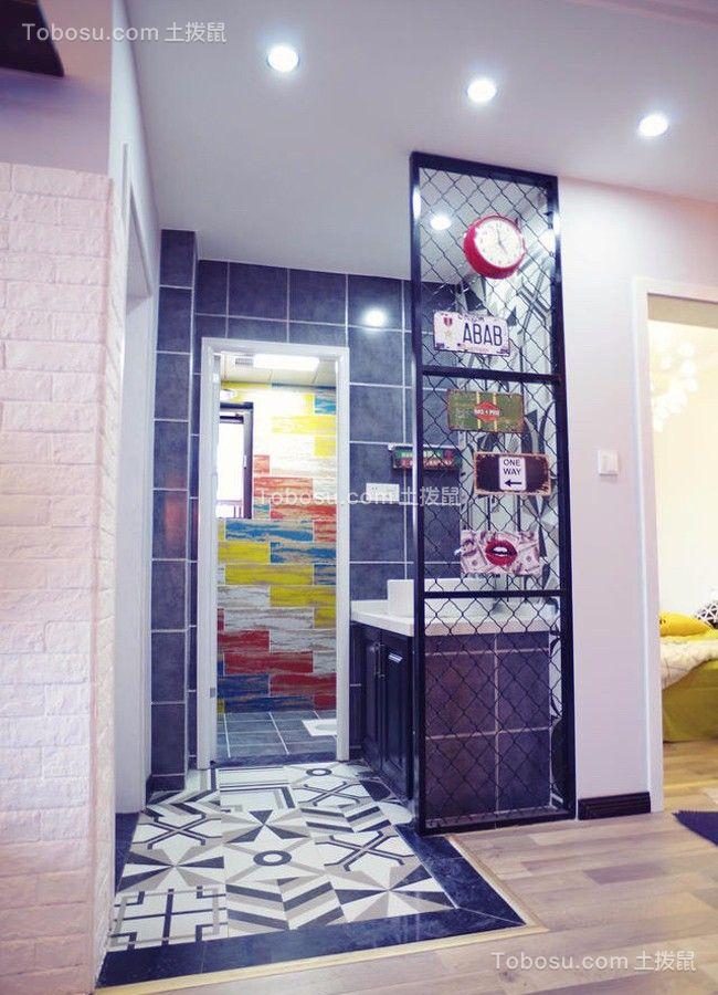 卫生间黑色洗漱台北欧风格装修设计图片