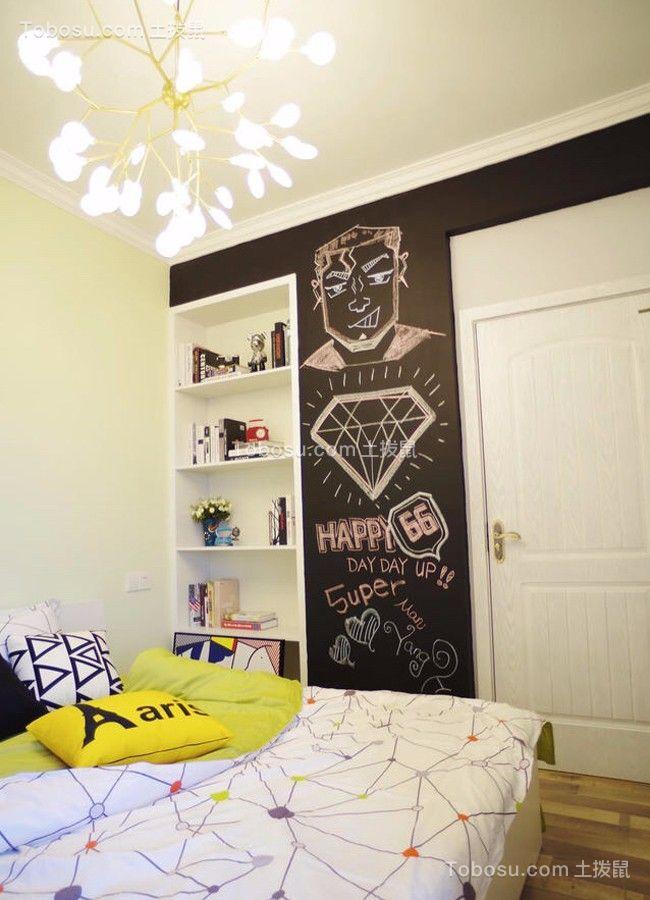 卧室白色书架北欧风格装饰设计图片