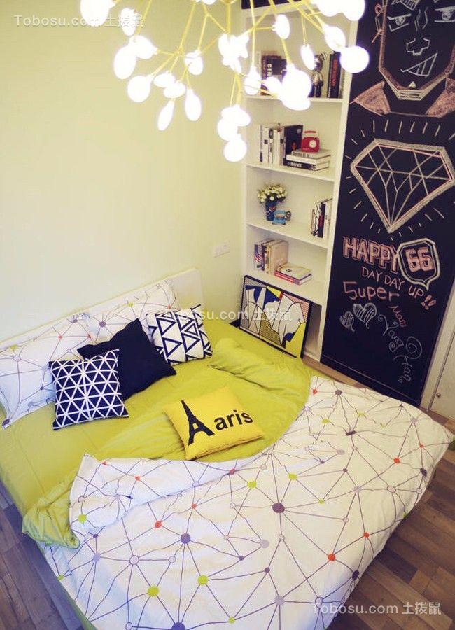 卧室白色床北欧风格装潢设计图片