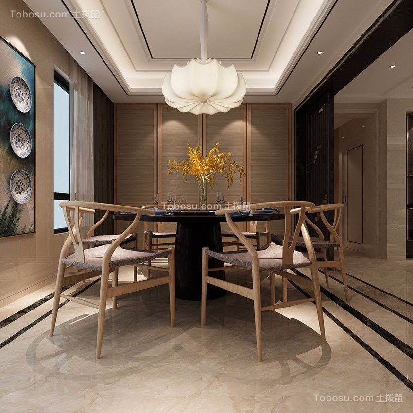 餐厅白色灯具新中式风格装饰设计图片