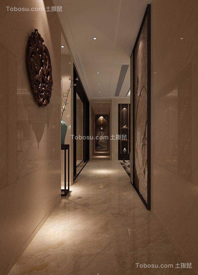 玄关咖啡色走廊新中式风格装饰效果图