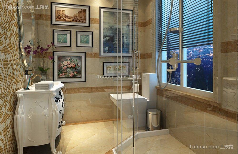 现代中式风格80平米两室两厅新房装修效果图图片