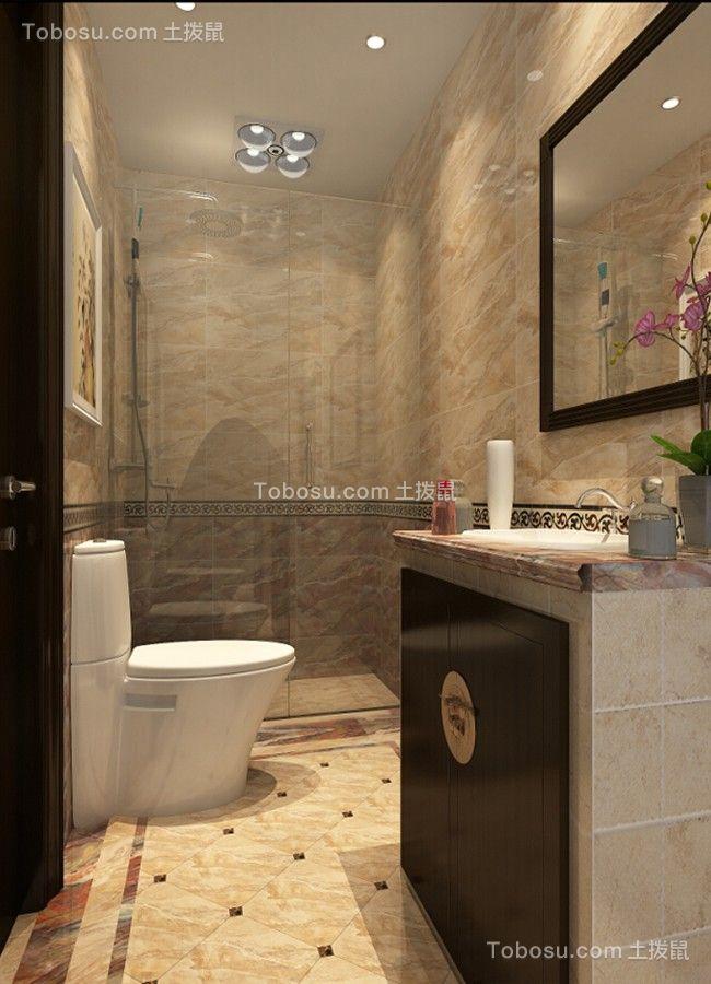 卫生间米色地砖新中式风格效果图