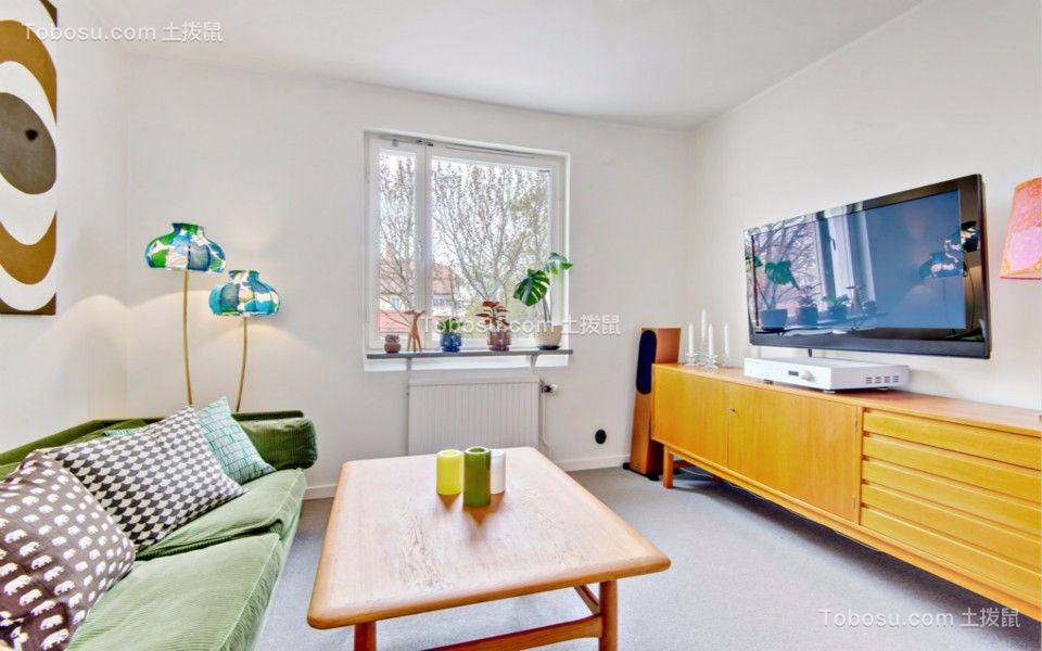 客厅黄色电视柜北欧风格效果图