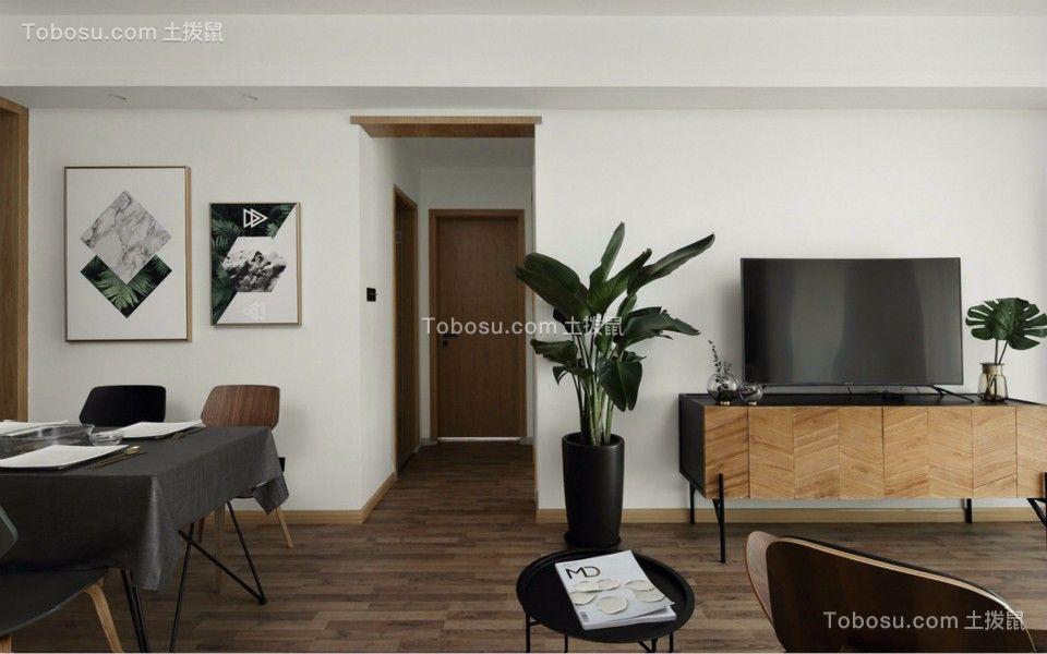 客厅 走廊_杨南新城两室两厅89平北欧风格装修效果图