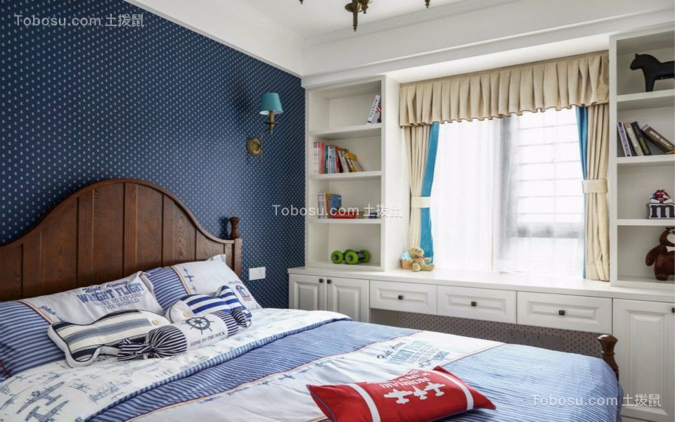 儿童房咖啡色床北欧风格装潢效果图