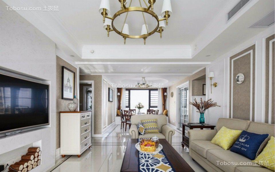 客厅白色灯具北欧风格装修设计图片
