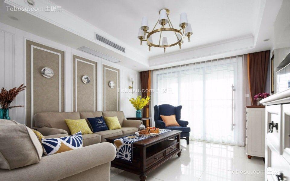 客厅白色地砖北欧风格效果图