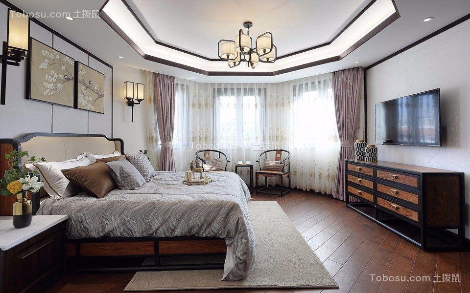 卧室粉色窗帘新中式风格装潢效果图