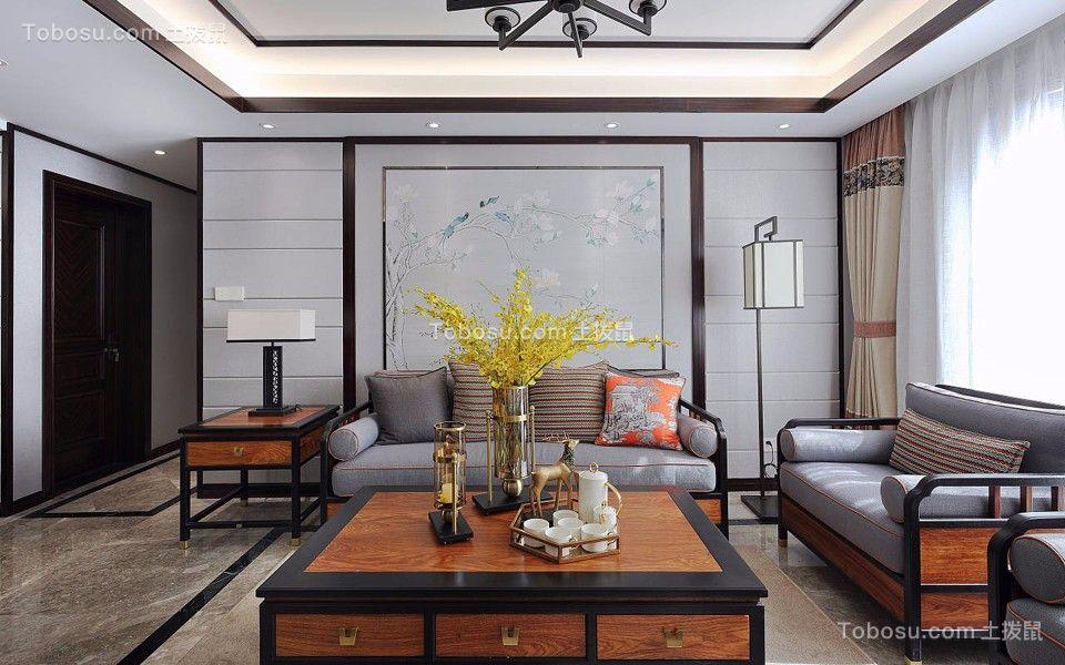 客厅咖啡色茶几新中式风格装潢图片