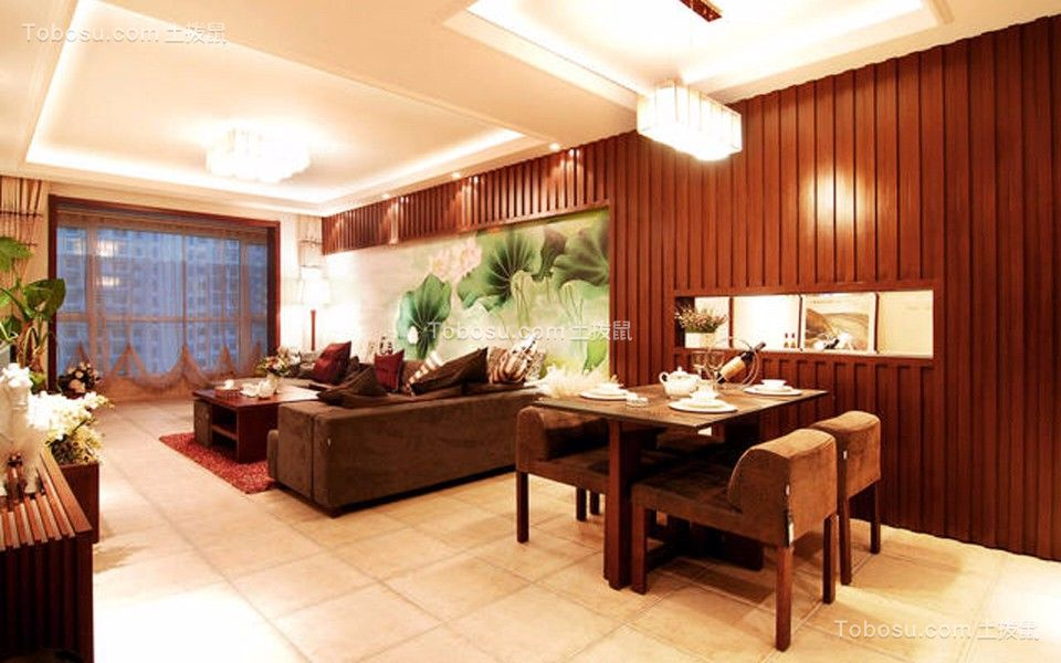 餐厅咖啡色餐桌新中式风格装潢设计图片