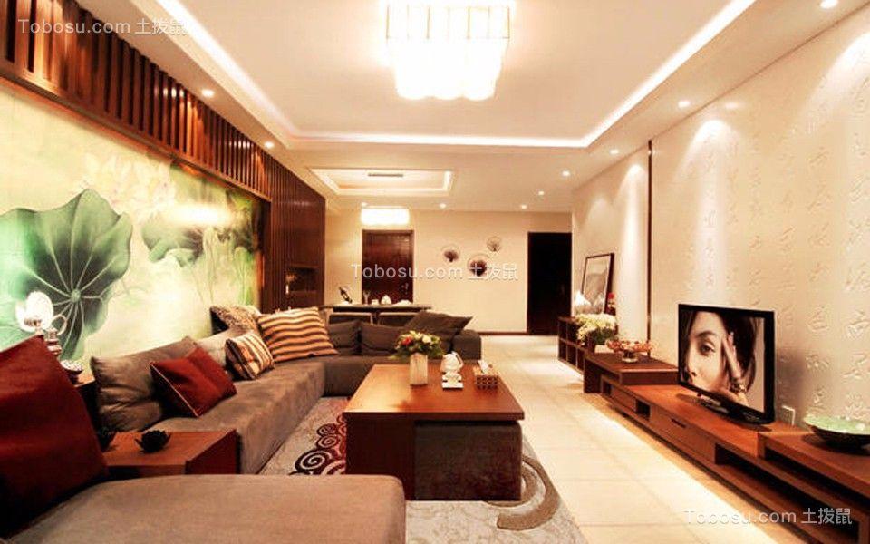 客厅白色电视柜新中式风格效果图