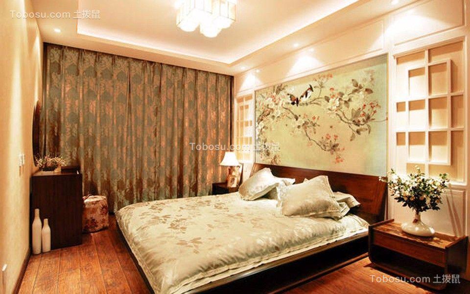卧室绿色窗帘新中式风格装饰效果图