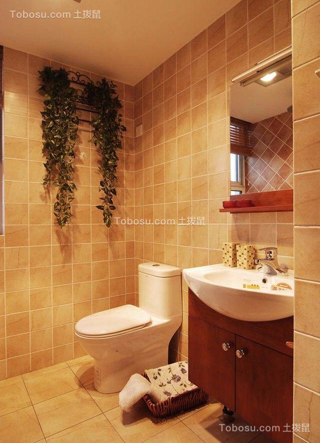 卫生间咖啡色洗漱台新中式风格装潢设计图片