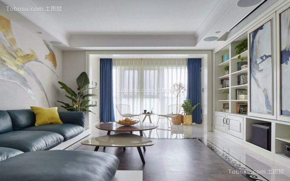 客厅绿色沙发简欧风格装潢设计图片
