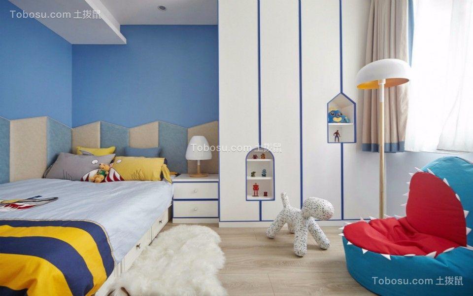 儿童房白色床头柜简欧风格装潢效果图