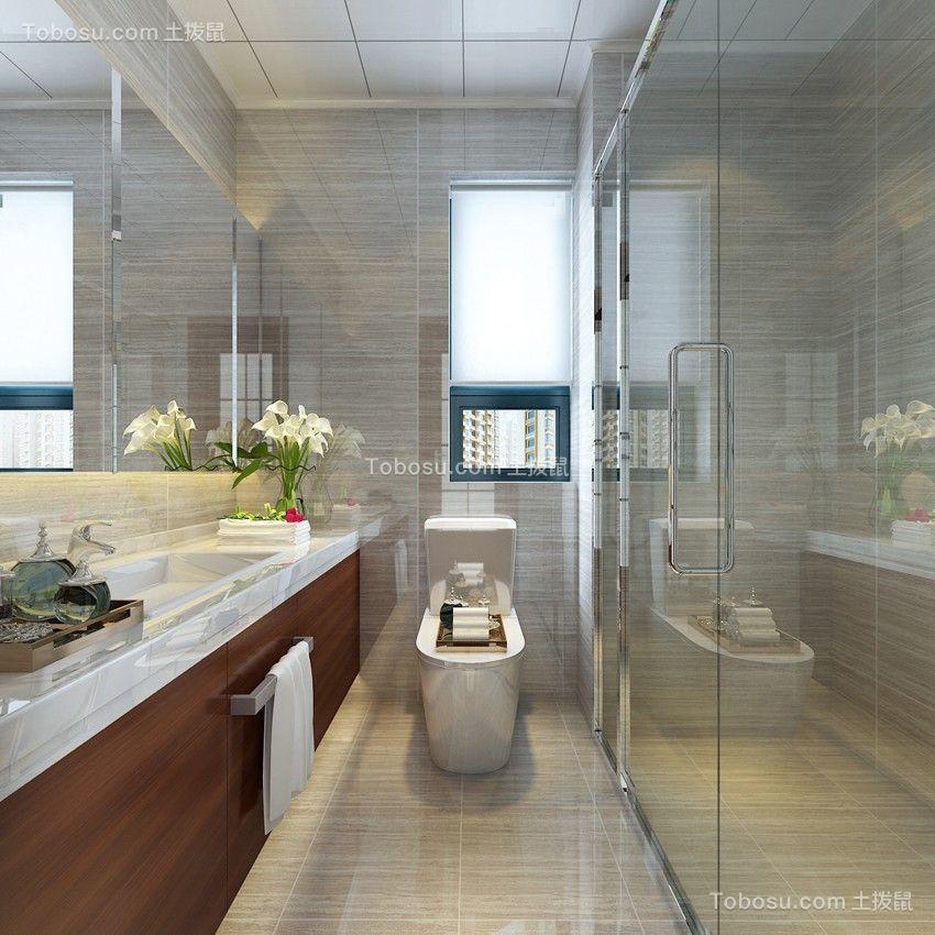 卫生间米色地砖中式风格装潢效果图