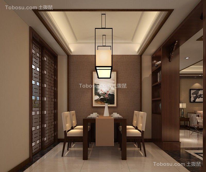 餐厅米色地砖新中式风格装潢图片