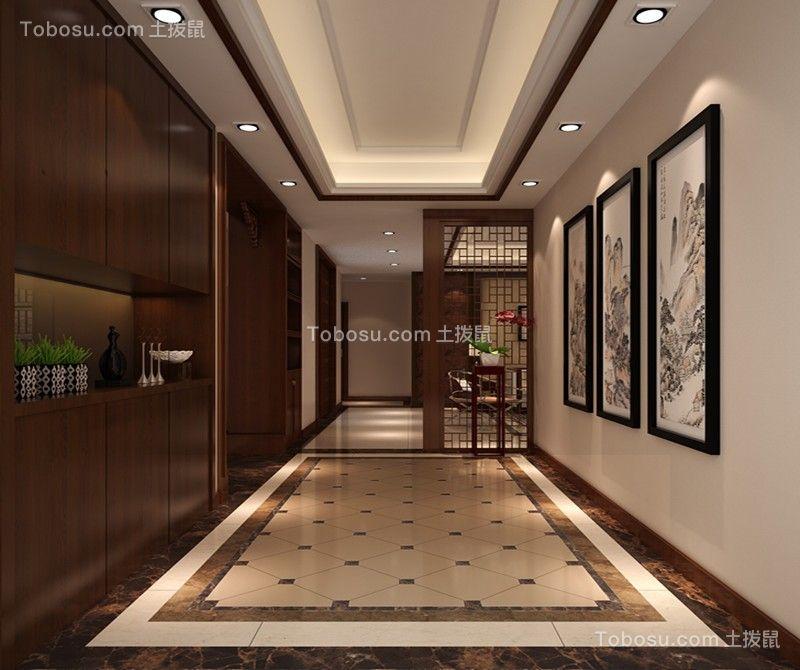 玄关米色地砖新中式风格装饰设计图片